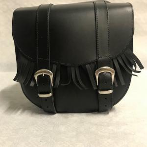 Motortas-set, zwart met dubbele gesp en franjes, 2x9 L
