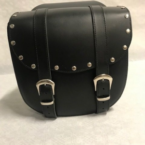 Motortas-set, zwart leder met dubbele gesp en siernagels, 2x9 L