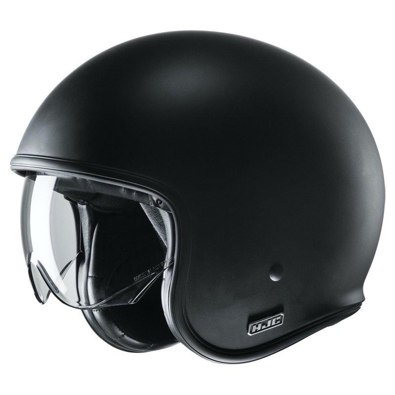 HJC V30 jethelm. Zwarte lichtgewicht helm met neergeklapt vizier.