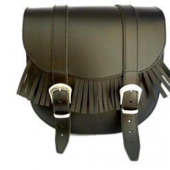 Set motortassen zwart leder